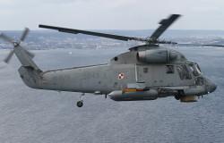 Śmigłowiec pokładowy SH-2G w locie nad Zatoką Gdańską.