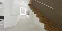 Umieszczenie schodów pod ścianą daje możliwość efektywnego wykorzystania przestrzeni pod nimi.
