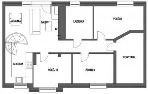 Propozycja dewelopera - schody kręcone w salonie.
