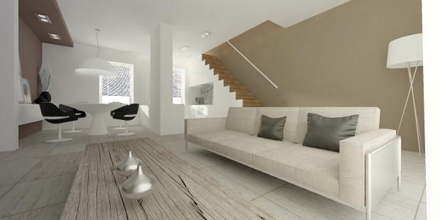 Koncepcja pierwsza. Proste schody w samym rogu pomieszczenia to oszczędność miejsca, wygoda i bezpieczeństwo korzystania z nich, oraz - w zależności od wykończenia - ciekawy element dekoracyjny.
