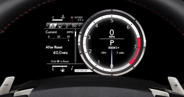 Szybko jeżdżą i dobrze wyglądają. Latem temperaturę podniosą nowe modele Lexusa i Infiniti. Na zdjęciu wskaźniki z kokpitu Lexusa.