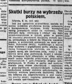 Gazeta Toruńska 2 listopada 1927 r. donosiła o burzy na wybrzeżu polskim.