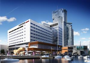 W niższym, 9-kondygnacyjnym budynku, zlokalizowanym od strony Centrum Gemini, znajdzie się hotel sieci Courtyard Mariott.