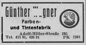 Reklamówka wytwórni wiecznych piór Gunthera Wagnera Pelikan w Gdańsku, przy Adolf-Hitler-Strasse 205 (dziś to al. Grunwaldzka 209).