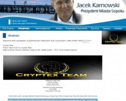 """""""Wizytówki"""" Cryptex Team na stronie prezydenta Sopotu."""