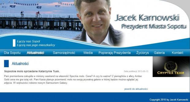 Zhakowana strona prezydenta Sopotu Jacka Karnowskiego.