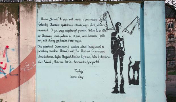 """Mural Iwony Zając """"Nike Stoczniowa"""" to legenda miejska. Mur został zburzony, ale dzieło zostało odtworzone w Sieci."""