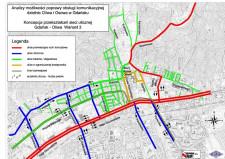 Koncepcja reorganizacji ruchu w rejonie Oliwy z wykorzystaniem istniejącej sieci dróg, autorstwa BPBK. Przykład, jak dużo mniejszym nakładem finansowym można zmienić sytuację komunikacyjną w tym rejonie miasta.
