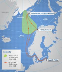 Mapa Rejs Arex 2013, trasa i obszar badań naukowych.