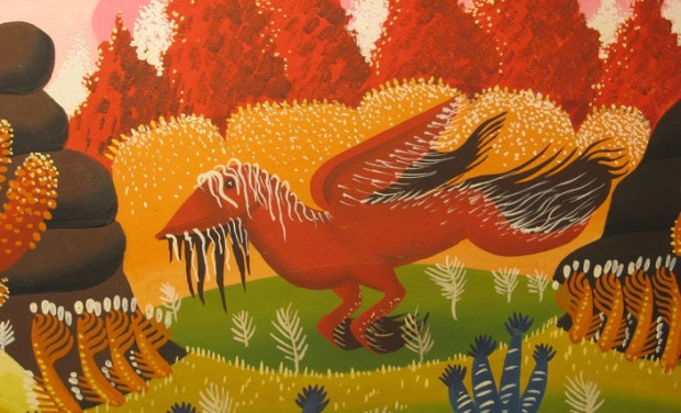 Świat obrazów Bogdana Lesińskiego zapełniają fantazyjne stwory ze snów. Można je obejrzeć w Spichlerzu Opackim.