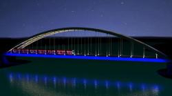 Wizualizacja iluminacji wiaduktu nad Martwą Wisłą.