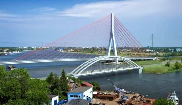 Planowany dwutorowy most nad Martwą Wisłą na gdańskiej Przeróbce.