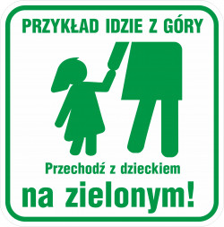 Znak miał przypominać o odpowiedzialności rodziców za swoje dzieci na przejściach dla pieszych.