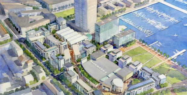 Na razie zabudowę gdyńskiego waterfrontu można oglądać jedynie na szkicach i wizualizacjach. Pierwszy etap, w którym powstaną hotel i biurowiec ma się zakończyć w 2015 r.