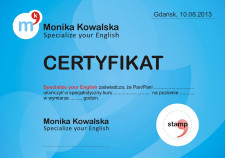 Po ukończeniu kursu lub warsztatów otrzymujemy specjalny certyfikat.