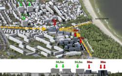 Miejscy planiści proponowali, by 30-metrowe budynki stanęły przy wjeździe do Brzeźna od strony Nowego Portu. Ten plan na razie nie zostanie jednak uchwalony.