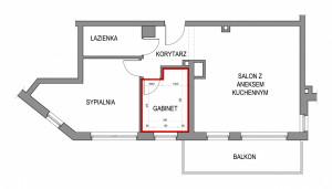 Układ mieszkania i wymiary projektowanego pomieszczenia.