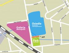Lokalizacja zburzonego muru. Grafika nie przedstawia docelowego układu hydrologicznego na terenie browaru, Parku Kuźniczki i Galerii Metropolia.