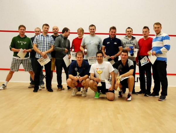Uczestnicy Otwartych Mistrzostw Pomorza w squashu zorganizowanych przez gdański klub Hedonia