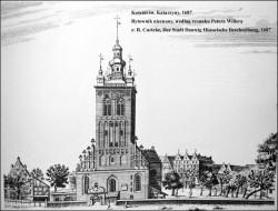 Tak przed wiekami wyglądał kościół św. Katarzyny i jego najbliższa okolica.