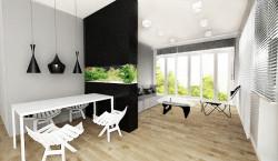 Akwarium wyeksponowane w dużym czarnym elemencie staje się prawdziwą, zwracającą uwagę ozdobą wnętrza.