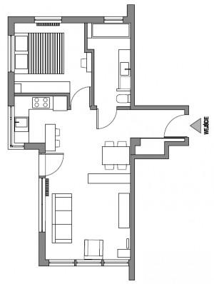 Obecny układ mieszkania z regałem proponowanym przez inwestorkę.