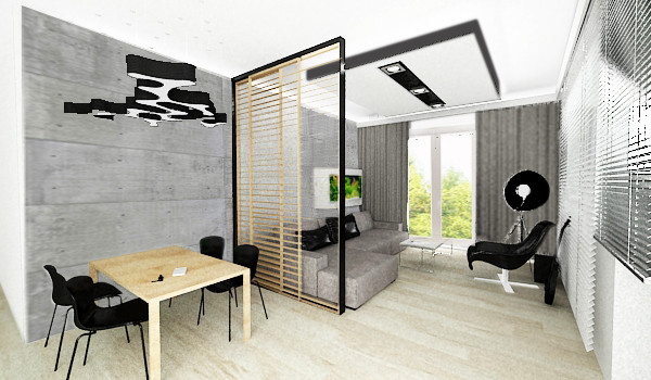Koncepcja pierwsza. Przesuwne drewniane ramy wypełnione żaluzjami i umieszczone w lekkiej stalowej konstrukcji to subtelny sposób podzielenia pomieszczenia. Dodatkowo umożliwia kształtowanie nastroju we wnętrzu w zależności od potrzeb.