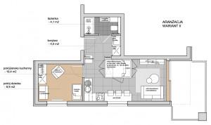 Koncepcja druga. W centralnym miejscu mieszkania stanął niebanalny mebel wielofunkcyjny dający namiastkę sypialni.