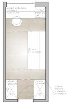 Koncepcja piąta. Po przesunięciu drzwi możliwe będzie umieszczenie zabudowy po obu ich stronach.
