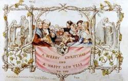 Pierwsza kartka świąteczna z 1843 roku. Rysunek, przedstawiający rodzinę wznoszącą toast, wykonał artysta z Londynu, John Calcott Horsley.