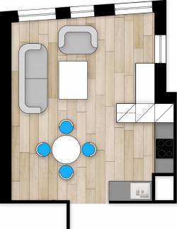 Koncepcja druga. Ścianka wydzielająca aneks kuchenny jest użyteczna od strony kuchni jak i pokoju.