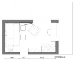 Koncepcja druga. Narożnik wypełnia lewą część pomieszczenia tworząc wyraźnie wydzielony kącik wypoczynkowy.