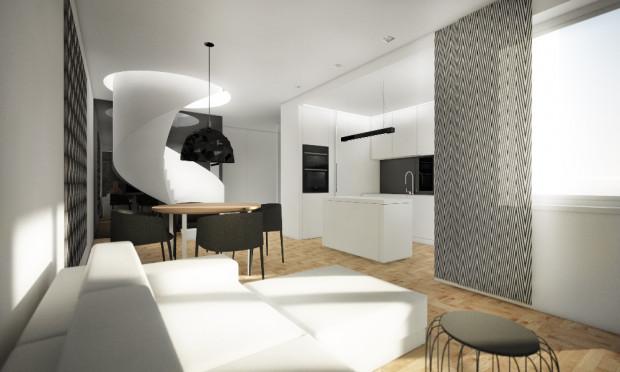 Koncepcja pierwsza. Kręcone schody i okrągły otwór mogą stać się designerskim elementem wnętrza.