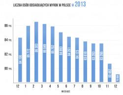 Spadająca liczba więźniów w Polsce na przestrzeni 2013 roku.