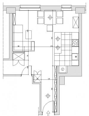 Koncepcja pierwsza.  Wprowadzono zmianę w zaproponowanym przez dewelopera układzie ścian działowych, polegającą na skróceniu i przesunięciu w głąb pomieszczenia ściany zlokalizowanej na granicy salonu i przedpokoju.