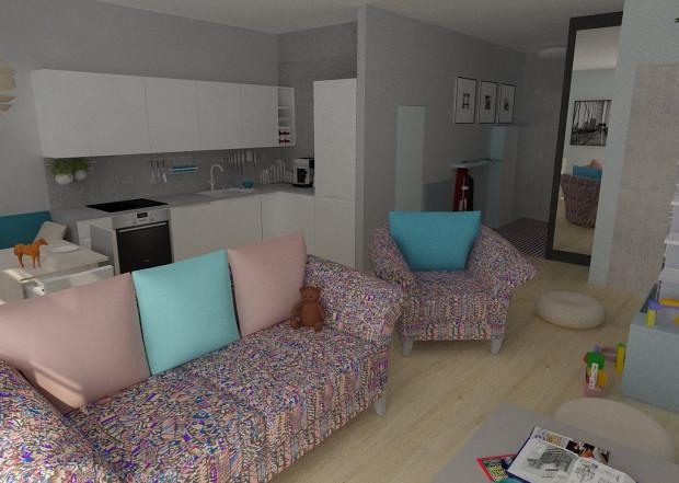 Koncepcja druga. Zabudowa kuchenna utrzymana w jasnej kolorystyce i prostej formie stanowi neutralne tło dla dekoracyjnych mebli wypoczynkowych, stanowiących punkt centralny projektowanej przestrzeni i determinujących tym samym charakter całej, otwartej przestrzeni.