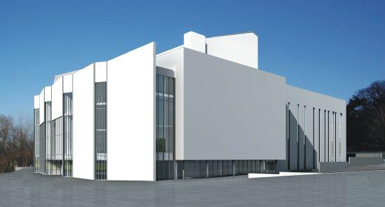 Tak będzie wyglądać Teatr Muzyczny w kwietniu 2013 roku. Każda z trzech scen będzie mieć odrębne drzwi wejściowe. Na wielkiej prostokątnej bocznej ścianie zawiśnie potężny ekran diodowy przeznaczony na reklamy i promocję wydarzeń artystycznych.