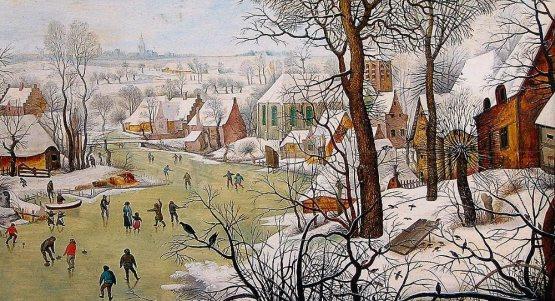 """""""Pejzaż zimowy z łyżwiarzami i pułapką na ptaki"""", Pietera Brueghela młodszego.  Z kolekcji Brukenthal National Museum w Sibiu."""