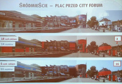 Symulacja wizualna placu przed City Forum w sytuacji, gdyby miały zastosowanie regulacje nowego dokumentu.