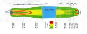 """Prezentacja osiadań podczas drążenia tunelu. Po lewej stronie znajduje się szyb startowy. Rysunek pochodzi """"Inzynieria i Budownictwo"""" 2/2014."""