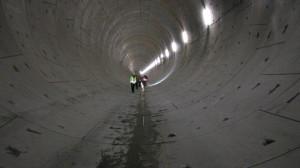 Tunel wydrążony z użyciem maszyny TBM.