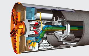 Wizualizacja maszyny TBM drążącej tunel.