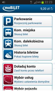 Ekran główny aplikacji Mobilet na telefonie z systemem Android. W Trójmieście można za jej pośrednictwem kupić tylko bilety jednorazowe MZKZG.