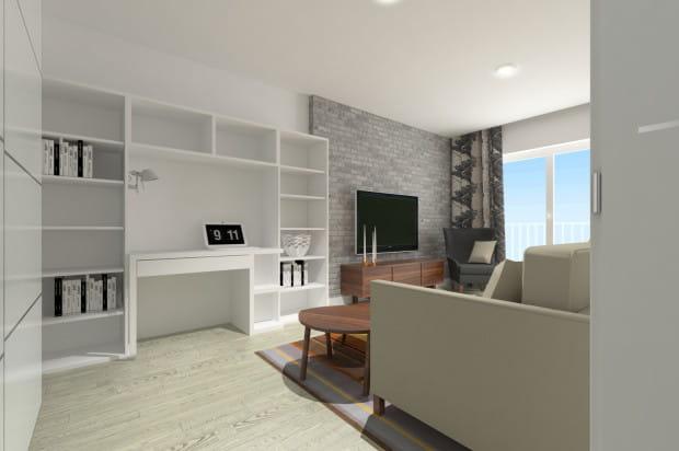 Koncepcja trzecia. Urządzając małe mieszkanie na wynajem warto przewidzieć, że najemcami będą zapewne młodzi ludzie, którym potrzebne będzie biurko do nauki lub pracy.