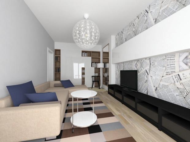 Zastosowanie w małym pomieszczeniu prostych, geometrycznych kształtów pozwala uniknąć kompozycyjnego bałaganu i natłoku.