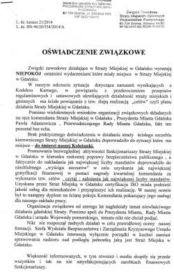 Po samobójstwie strażniczki związkowcy ze Straży Miejskiej w Gdańsku wydali oświadczenie. Cz. I.