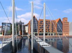 Plan zagospodarowania północnego cypla Wyspy Spichrzów, wykonany kilka lat temu na podstawie koncepcji architektonicznej przygotowanej przez pracownię MAT (na wizualizacji) trafił do kosza. Nowy plan zmieni zapisy dotyczące miejsc parkingowych i ilości mieszkań, jakie mogą tu powstać.