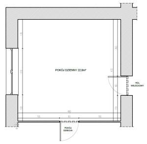 Wymiary i układ pomieszczenia. Wysokość 3 m.