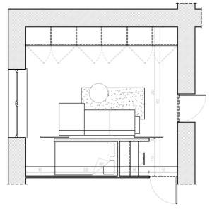 Koncepcja druga. Pojemna zabudowa i ścianka wydzielające miejsce do spania i do pracy.