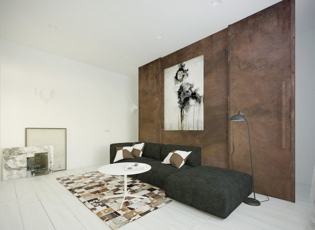 Koncepcja druga. Ścianka działowa z przesuwnymi drzwiami pozwala wydzielić części pomieszczenia, a jednocześnie uzyskać intymność podczas snu lub pracy.